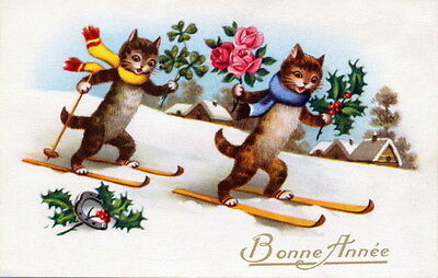Vntg French New Year~Skiing Kitty Cats Scarves~Roses~Horseshoe~NEW Lg Note Cards