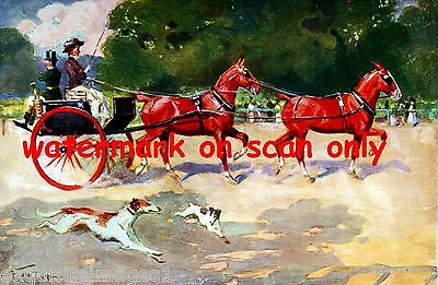 1911 Tandem Horse Team~Carriage~Running Greyhound Puppy Dogs~NEW Lge Note Cards