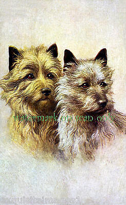 Vintage Art~ Cairn Terrier Dogs Profiles~ NEW Large Note Cards