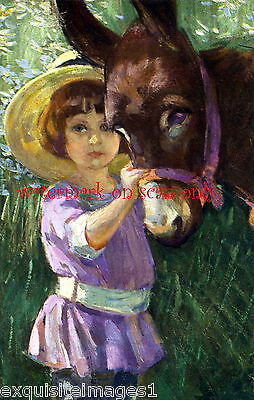 Vintage Art Cute Burro~Donkey~Colorful~Sweet Girl in Purple~NEW Large Note Cards