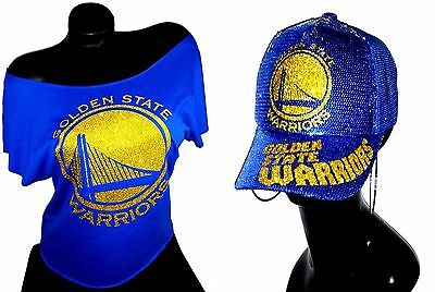 Golden State Warriors Royal Rawedge Lt.Wt. Dolman Tee &Sequin Cap~Combo Deal!