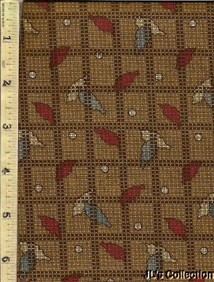 "Brown Check Squares Red & Blue Leaves 1+ Yds 24""W Cotton Print"