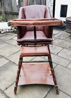 Victorian Metamorphic  Childs / Dolls / Teddy High Chair With Original Pictures