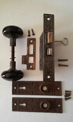 Antique Star Mortise Lock Black Porcelain Door Knob Set Key Plates #465A Corbin