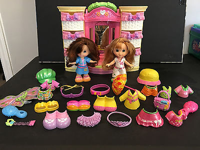 Fisher Price Snap and Style Dolls Play Set Lot - Light up dresser, umbrella suit