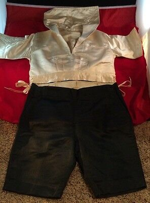 Antique Childs Navy Sailer Outfit ESTATE Silk And Linen Vintage Textiles Costume