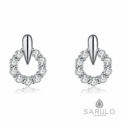 Halo Stud 925 Sterling Silver New Fashion Sarulo Earring Gift Box Jewelry Womens