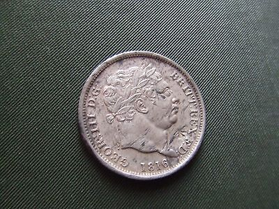 George Iii.  1816, Silver Shilling.  Bull Neck Issue.   Nice Condition.
