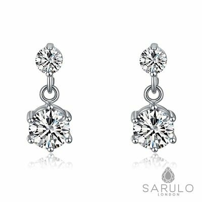 Stunning Sarulo 925 Sterling Silver Earrings Jewelry Fashion Gift Box Womens New