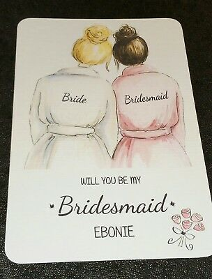 PERSONALISED *WILL YOU BE MY* BRIDE with  BRIDESMAID.. MAID HONOR.. REQUEST CARD