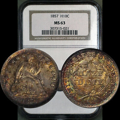 1857 Half Dime H10C NGC MS63 Colorful Rainbow Toning