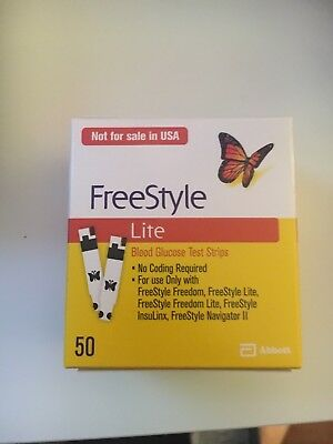 50 Freestyle Lite test strips. Abbott. New. Long dated 2019