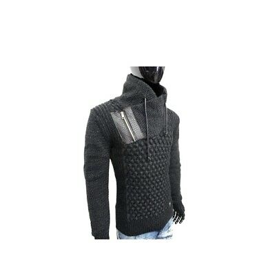 LCR Men/'s Fashion Sweater Jumper Knit Cardigan Color Black//Smoked 5280