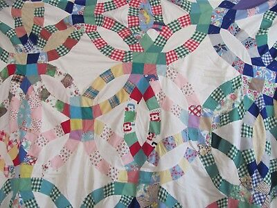 "Antq/Vtg Wonky DOUBLE WEDDING RING QUILT TOP 62""x 76"" H-Pc'd FEEDSACKS CRAFTS"