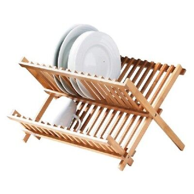 New Bamboo Wooden Dish Drainer Plate Rack Sink Tidy Easy Storage Folding Drier
