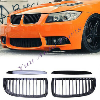 Gloss Black Front Kidney Grill Grilles For BMW 05-08 Sedan Wagon E90 E91 4 Door
