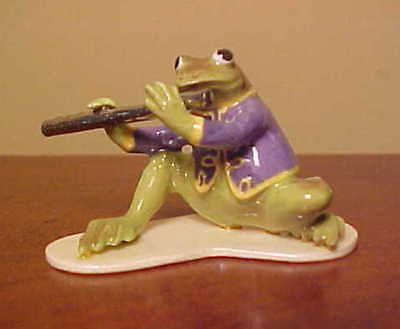 Hagen-Renaker Specialty Toadally Brass #3257 FLUTE PLAYER Ceramic Frog Figurine