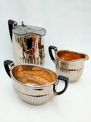 Gadrooned Silver Luster Lustre Ware Gilt Lined Coffee Set Ceramic Pottery Pewter