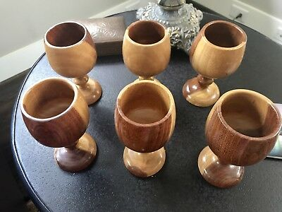 Set Of 6 Handmade Turned Wooden Goblet Chalice Beautiful Coloring!