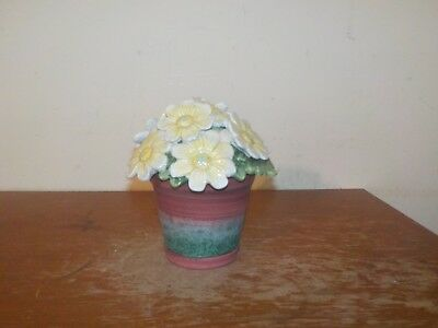 Vintage Fitz & Floyd Essentials Forever In Bloom Ceramic Daisies in Pot Canister