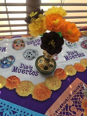 Set of 6 / Day of the Dead , Dia de Los Muertos, Mexican Crepe Paper Flowers