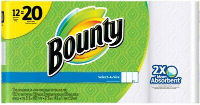 Bounty Paper Towels 12 COUNT Mega Rolls Extra Absorbent Select A Size