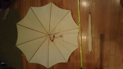 Polan Katz PK Parasol Umbrella Brass Accent Clear Amber Orange Handle Touch & Go