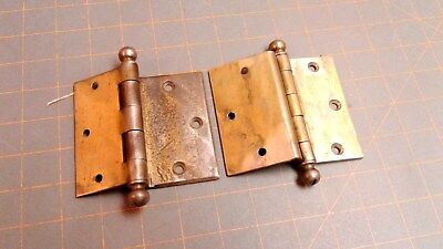 Pair STANLEY INSET House Door Hinges Brass Plated Steel with Ball Tips Vintage