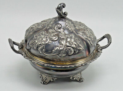 Antique 3 Piece Domed Butter Dish Derby Silver Co Quadruple Silverplated