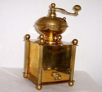 Early 20th Cen Brass Coffee Grinder European Hungaria Austria or Germany Antique
