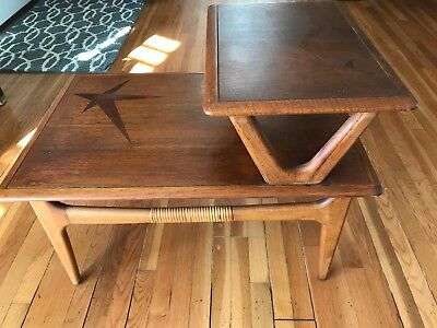 Vintage Lane Mid Century Modern Two tiers End Table with design on both tiers