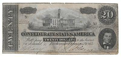 $20.00 (T-67) Piece of Confederate Paper Money Dated Feb. 17th 1864