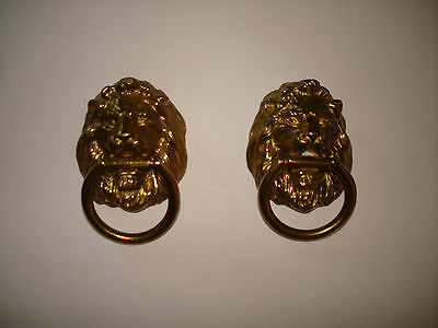 Vintage Pair of Brass  Lion Heads Drawer Pulls
