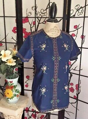 VTG 60s/70s LILY Wom M Chinese Hand Embroid Casual Polyester-Viscose Blouse Top