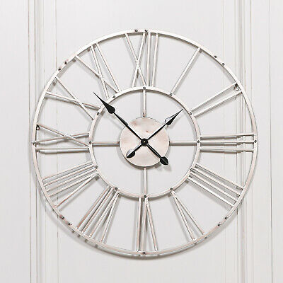 Large 92cm Vintage Silver Skeleton Metal Wall Clock