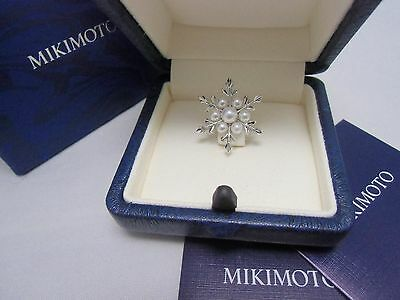 """Mikimoto Akoya Pearl Sterling Silver Pin Brooch   """"Snowflake""""  Gift Wrapped Auth"""