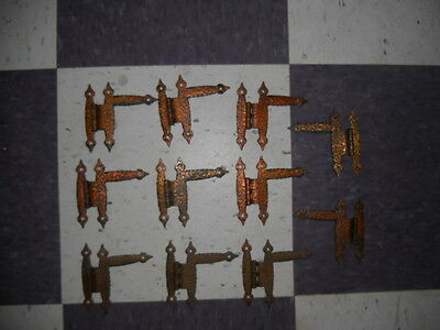 """Vintage Hammered  COPPER Plated HINGES 3/8"""" Offset Cabinet Doors Colonial"""