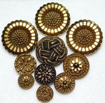Vintage BUTTON lot GOLD Luster Glass Sunflowers Snowflake VICTORIAN Designs