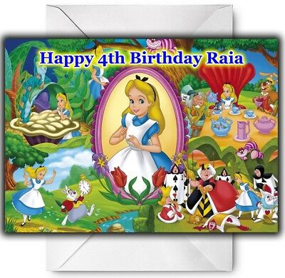 ALICE IN WONDERLAND Personalised Birthday / Christmas / Card - Large A5