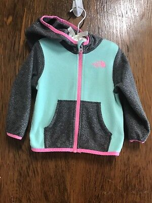 North Face Fleece Baby Girls Jacket 12-18 Months Mint Pink Gray Adorable