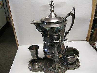 Reed & Barton Silverplate Figural Tilting Water Pitcher W/ Cup Patent 1867
