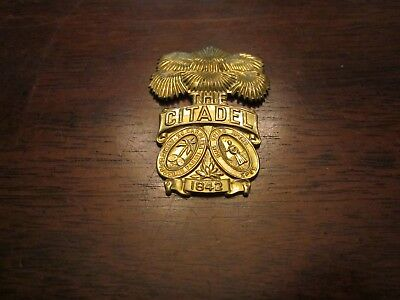 The Citadel The Military College of SC Cadet Used Brass Hat Badge