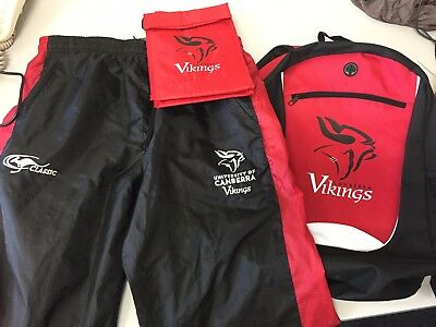 LARGE Canberra Vikings player issue track pants + backpack Rugby Union NRC