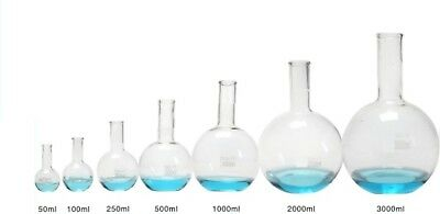 Borosilicate Glass Flat Bottom Round Boiling Florence Flask Boro 3.3 Lab Science