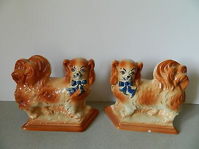 Antique Staffordshire Pekinese Mantle Dog Figurines/Pair