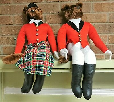 Vintage Fox & Hound Stuffed Foxes With English Riding Outfits On Fabulous