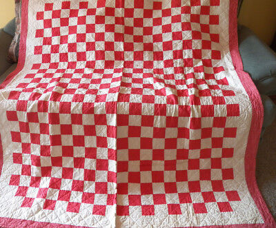 Double Size Quilt Hand Stitched 9 Patch Red and White