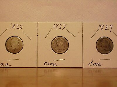 Lot of 3 Capped Bust Dimes Low Grades 1825 1827 1829 No Holes Not Cleaned