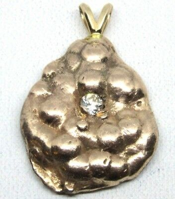 10G 10K Gold And Diamond Nugget Pendant