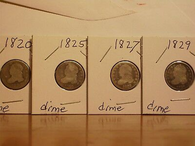 Lot of 4 Capped Bust Dimes 1820 1825 1827 1829 No Holes Not Cleaned